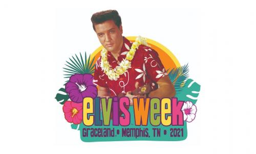 Elvis Week logo with multi colored letters and Elvis in a Hawaiian shirt and lei