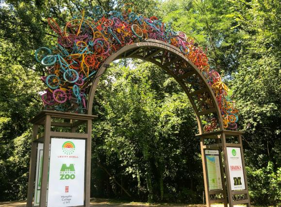 sculptural arch made of colorful bicycles | Holly Whitfield