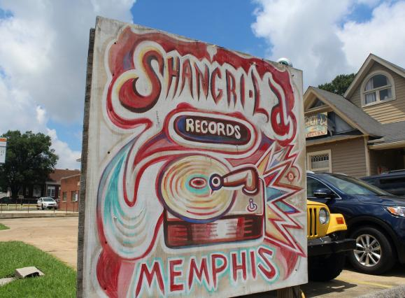 hand-painted sign for Shangri La Records