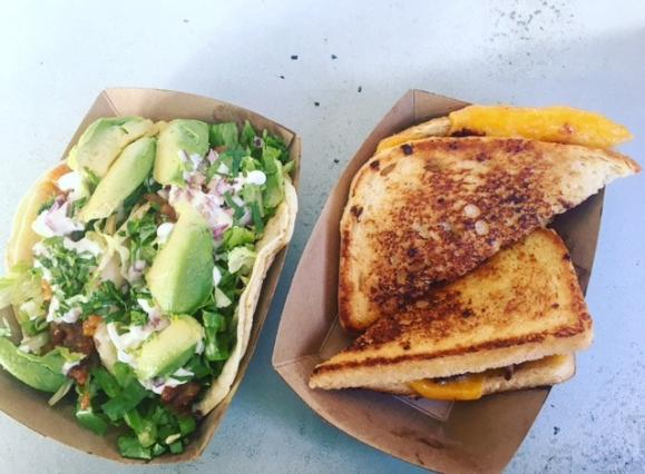 Grilled Cheese Sandwich and Tacos